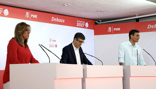 Susana Díaz, Patxi López y Pedro Sánchez.