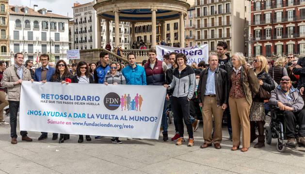 Foto de la inauguración del Reto de 2016 en la Plaza del Castillo de Pamplona.