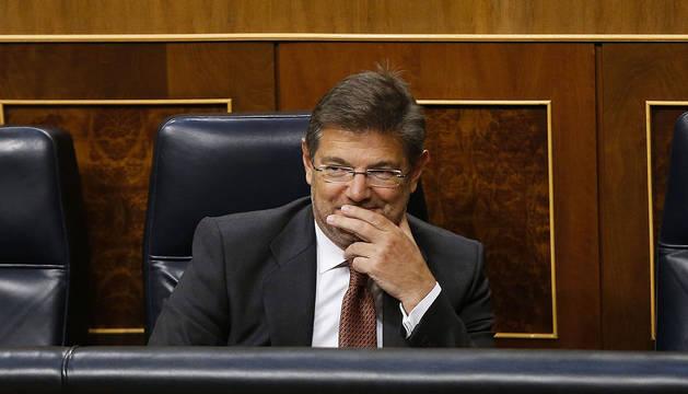 El ministro Catalá, en el pleno en el que le han reprobado.