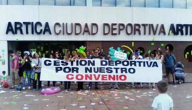 Imagen de los trabajadores en una concentración.
