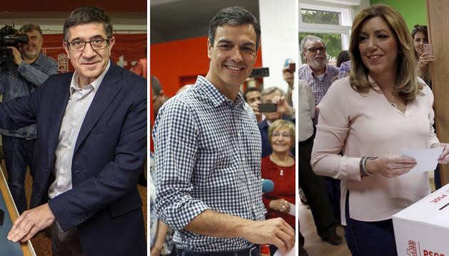 Foto de Patxi López, Pedro Sánchez y Susana Díaz, depositan su voto.