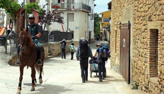 Uno de los jinetes de la Guardia Civil, a lomos de 'Gigante' en el municipio de Lorca.