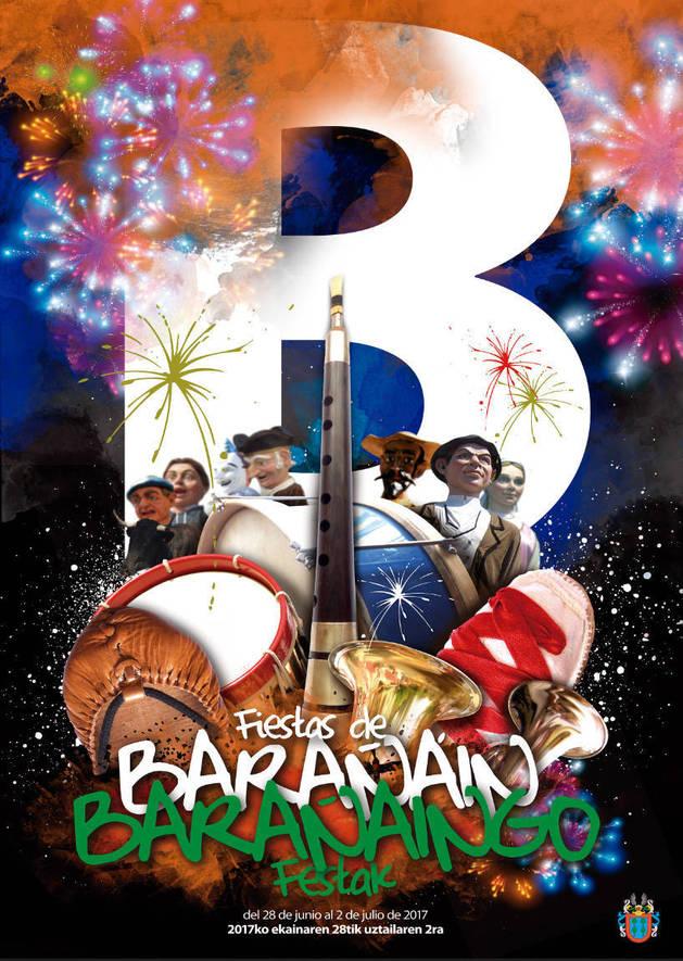 """El cartel """"Iconos festivos"""" que anunciará las fiestas de Barañáin."""