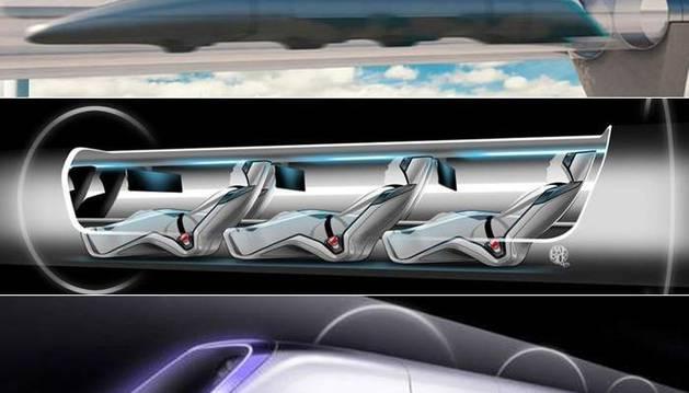 Imagen del prototipo del tren Hyperloop, que pretende alcanzar 1000km/h.
