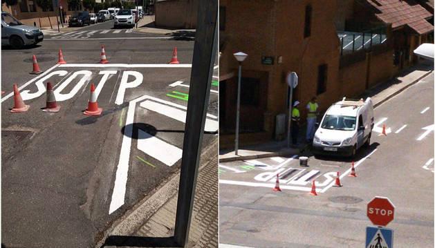 Imagen del antes y el después de la señal vial pintada en Tudela.