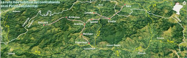 La ruta más habitual del contrabando en el Pirineo Occidental.