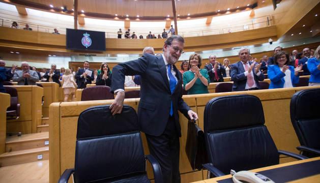 Mariano Rajoy a su llegada al Senado