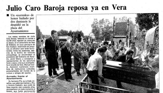 Página de Diario de Navarra de 1995 con la noticia de la muerte de Julio Caro Baroja.
