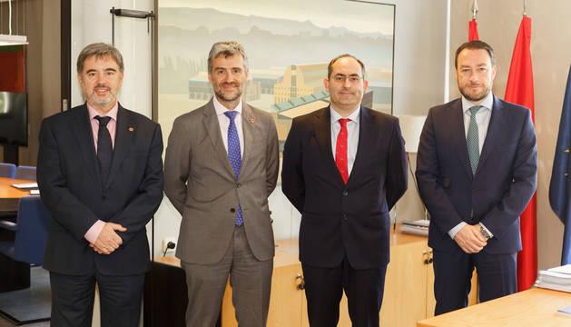 foto de Alfonso Carlosena, Francisco Javier Tornaría, Ramón Gonzalo y Rafael Rodríguez Trías.