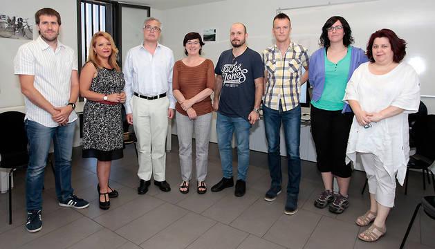 Un momento de la visita de Enériz al Centro de Atención a Personas sin Hogar de Pamplona.