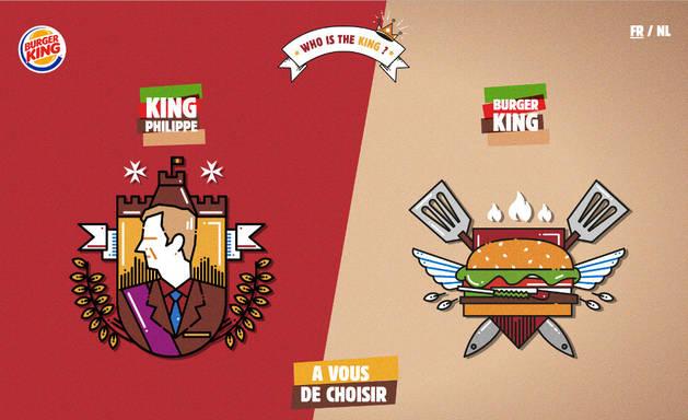 Imagen de la web en la que los belgas pueden elegir entre Burger King o el rey de Bélgica.
