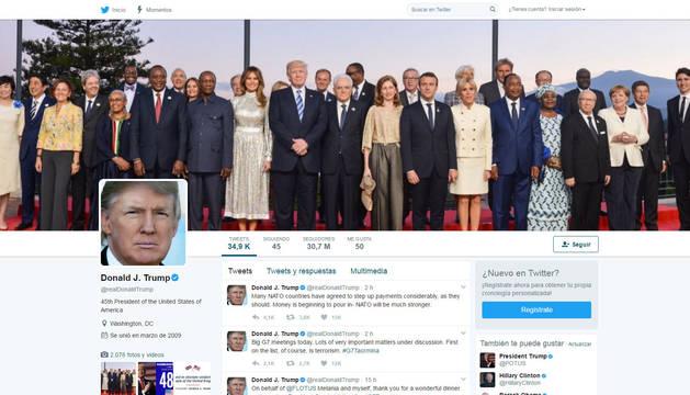 Página de Twitter del presidente de Estados Unidos, Donald Trump.