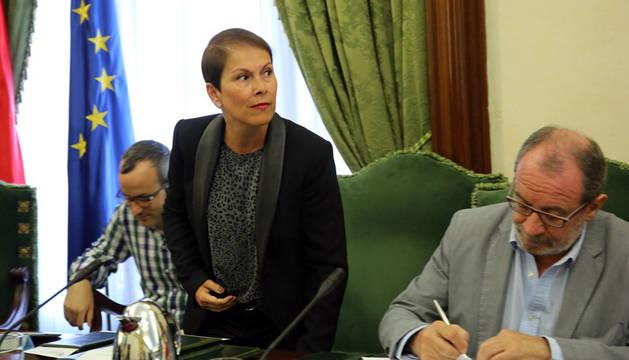 Uxue Barkos durante su etapa como concejal del Ayuntamiento de Pamplona.