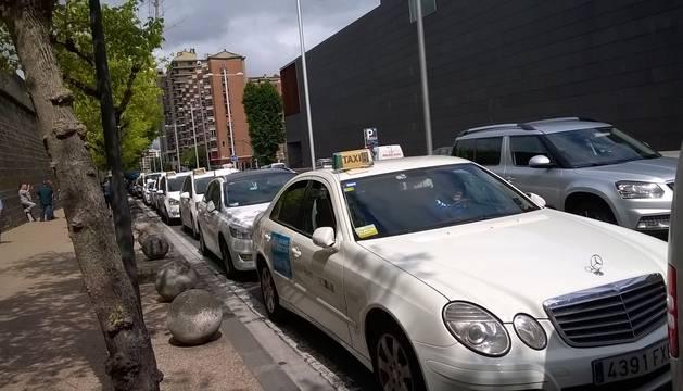 Protesta de taxistas en Pamplona