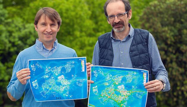 Jesús Miguel Santamaría (izda.), coordinador de 'Life+Respira', y Arturo Ariño, investigador de 'Life+Respira' y profesor de Ciencias Ambientales.