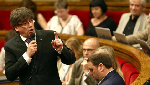Puigdemont en la sesión de control parlamentario de la Generalitat