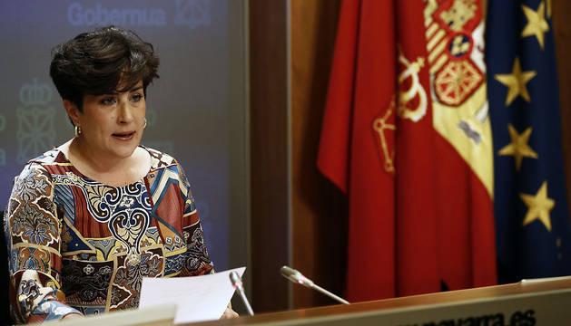 La portavoz del Gobierno de Navarra, María Solana, durante su comparecencia de este miércoles.