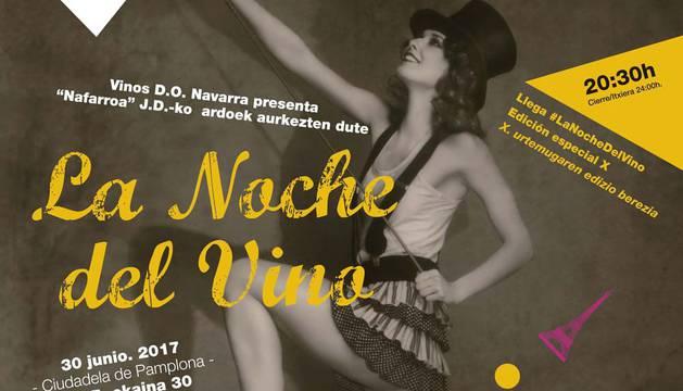 Cartel de la décima edición del evento nocturno en vino en la Ciudadela