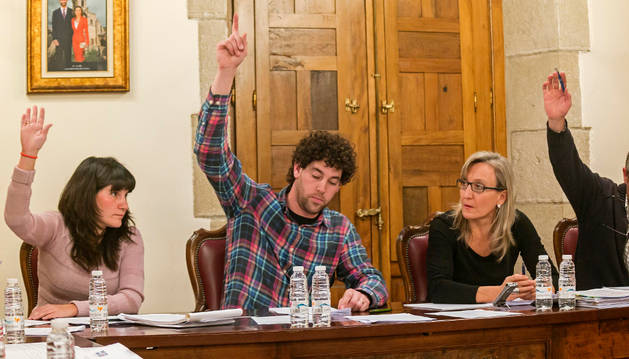 Foto de una imagen de una votación en un pleno celebrado anteriormente en Viana.
