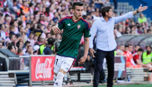 Álex Berenguer, en el partido que Osasuna disputó en el Vicente Calderón.