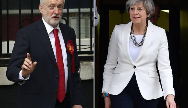 Combo de imágenes del líder del Partido Laborista, Jeremy Corbyn, y de la primera ministra británica, Theresa May.