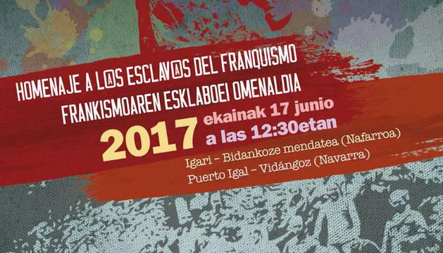 Cartel del homenaje a los esclavos del franquismo del día 17 de junio.