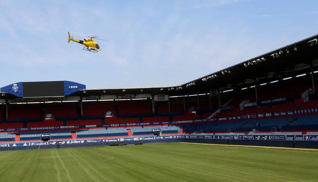 Aspecto que presentaba el estadio de El Sadar hace solo unos días, con la competición ya finalizada.