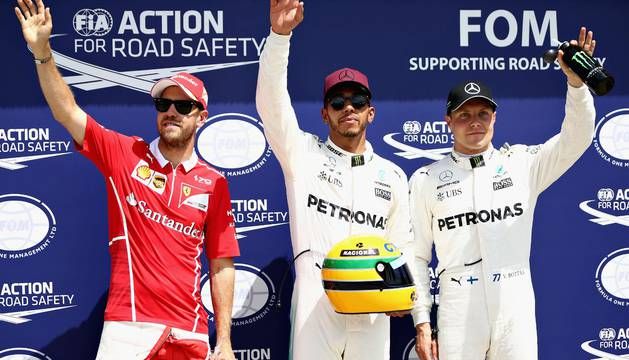 Vettel, Hamilton y Bottas, en el podio.