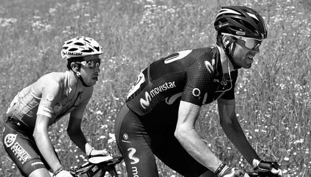 Alejandro Valverde, con Fabio Aru, en el Dauphiné.
