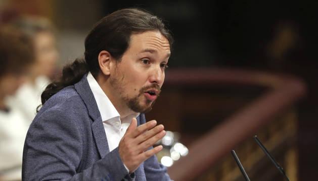 Imagen el secretario general de Podemos, durante su discurso.