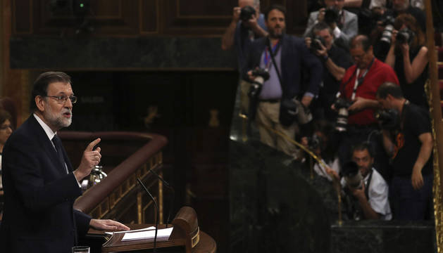 Rajoy responde a Irene Montero en el Congreso.