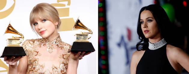 Imagen de las cantantes Taylor Swift (izquierda) y Katy Perry.