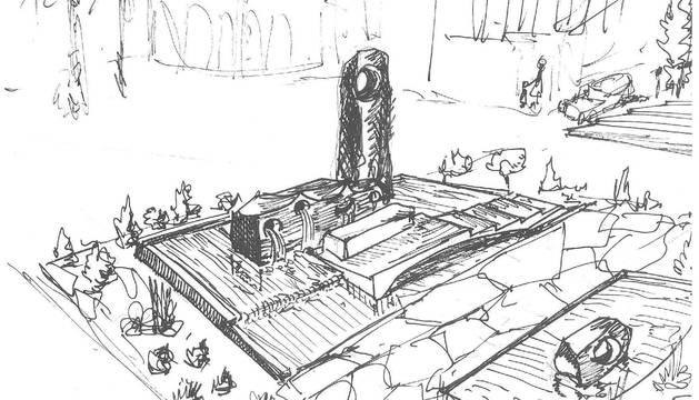 Boceto realizado por Oteiza del monumento al foguerer.
