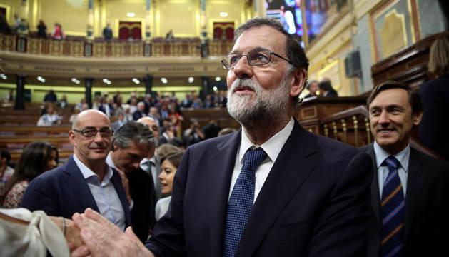 Foto de Rajoy, en el debate de moción de censura.