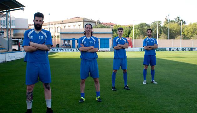 De izquierda a derecha: Roberto Cirauqui (portero), Iván García (Defensa), Diego Martón (Centrocampista) y Miguel Maeztu (Delantero).