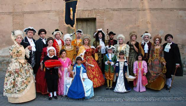 Los corellanos que representaron a la comitiva real en el desfile.
