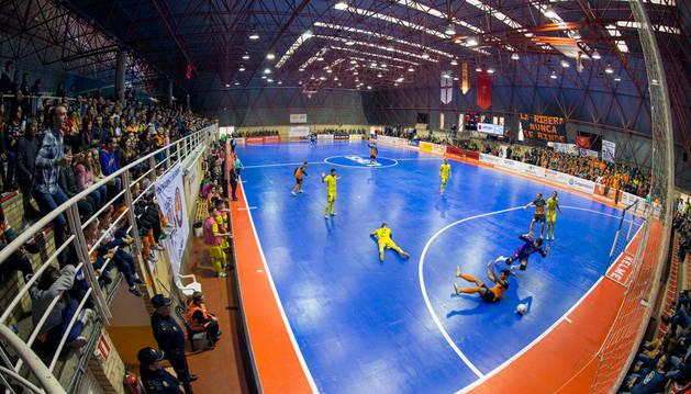 Vista del polideportivo Ciudad de Tudela en un partido del Aspil.