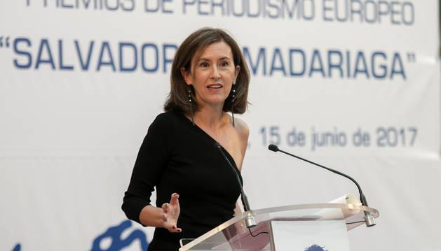 Foto de la periodista Elena Ochoa durante la entrega de los XXIII Premios de Periodismo Europeo Salvador de Madariaga, el jueves en Santander.