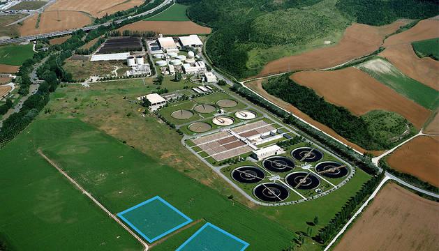Vista aérea de las fincas de ensayos con lodos de la Estación Depuradora de Aguas Residuales.