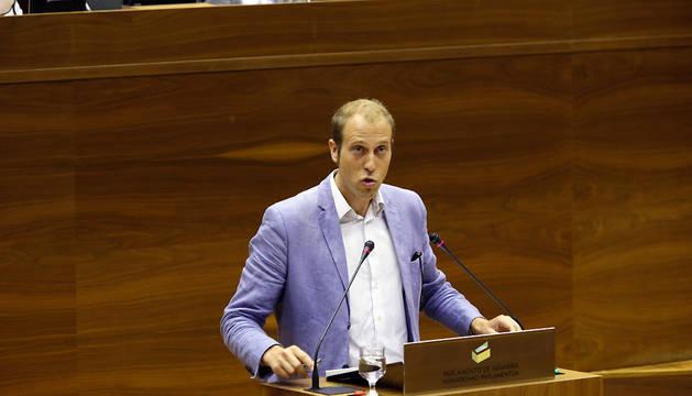 Jokin Castiella (Geroa Bai), este jueves en el Parlamento navarro.