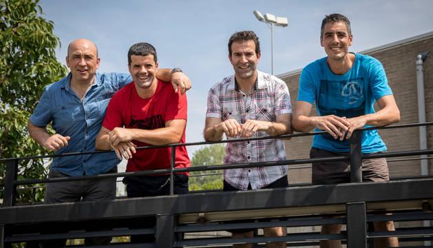Los pelotaris Óscar Lasa, Patxi Eugi, Fernando Goñi y Peio Martínez de Eulate en Huarte.