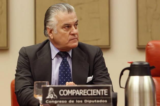 Imagen del extesorero del PP Luis Bárcenas, durante su comparecencia.