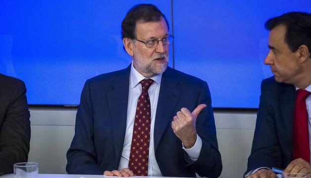 Rajoy junto a Maillo, durante la reunión del Comité Ejecutivo del Partido Popular.