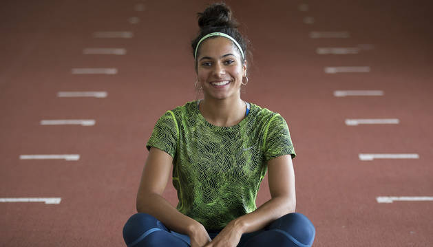 Laila Lacuey, ayer por la tarde en Larrabide, donde regresó a entrenar tras sus dos medallas.