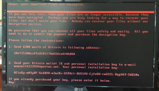 El pantallazo que aparece confirmando el secuestro de datos
