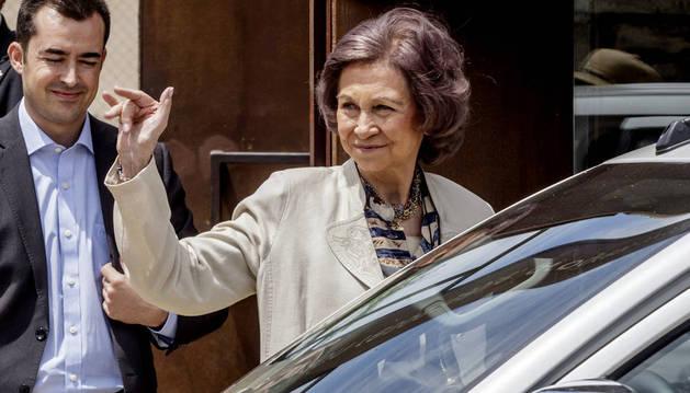 La reina Sofía tras presidir esta mañana la reunión del Patronato de la Fundación Atapuerca.