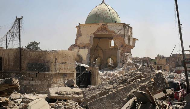 Los restos de la mezquita al Nuri de Mosul