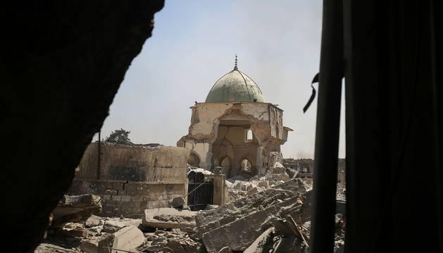 Los restos de la mezquita destruida