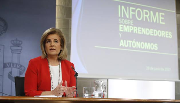 Fátima Báñez en la rueda de prensa posterior al Consejo de Ministros