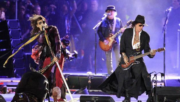 El grupo estadounidense Aerosmith durante el concierto que han ofrecido en el auditorio Miguel Rios de Rivas Vaciamadrid.